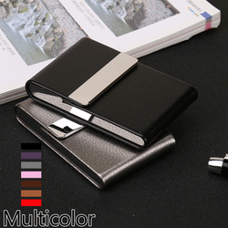 Aluminiowe etui na cygara i papierosy pojemnik na tytoń kieszonkowe pudełko do przechowywania pojemnik ze stali nierdzewnej ze skóry na karty pu przypadki akcesoria do palenia