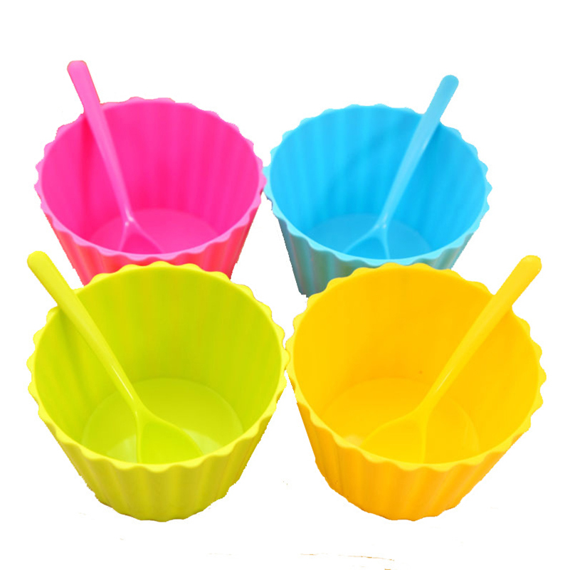 Tableware Tools Salad Candy Colored Cute Fruit Bowl Round Plastic