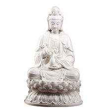 24 Inch Bodhisattva Dehua White Porcelain Sculpture Crafts Ornaments Guanyin Buddha Home Furnishing Town House