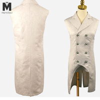 Marstaci Men coats medieval Steampunk Gothic Sleeveless Lapel Collar Double Breasted formal prom party Jacquard Coat