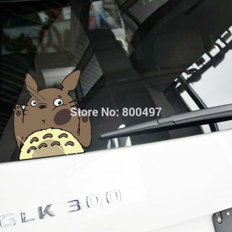 Newest Car Styling Cartoon Cat Totoro Hitting the Glass Car Stickers Car Decals for Toyota Chevrolet Volkswagen Tesla Lada