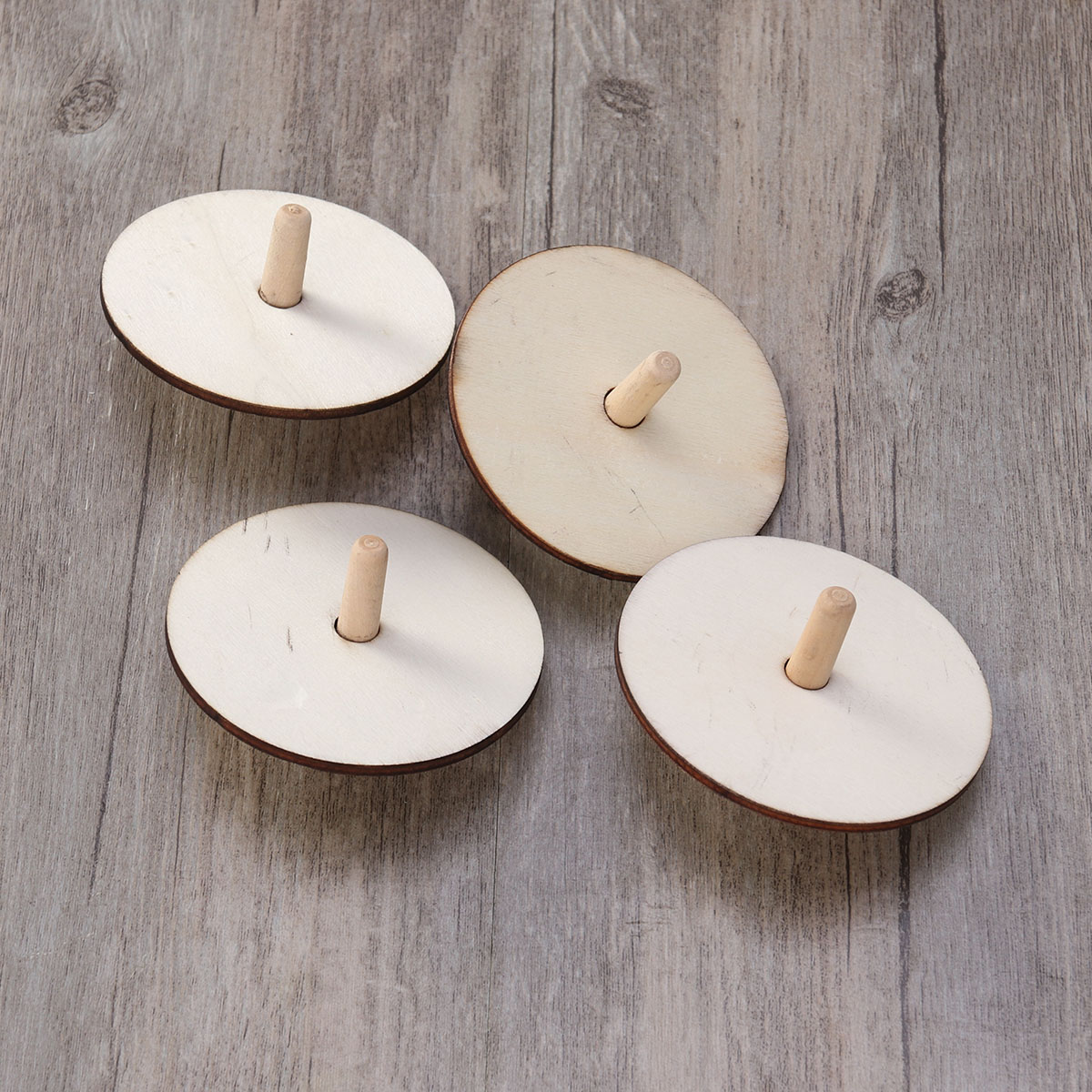 4pcs Unfinished Spinning Top DIY Painting Wooden Gyroscope Peg-top Toy for Kids Children Toddler(China)
