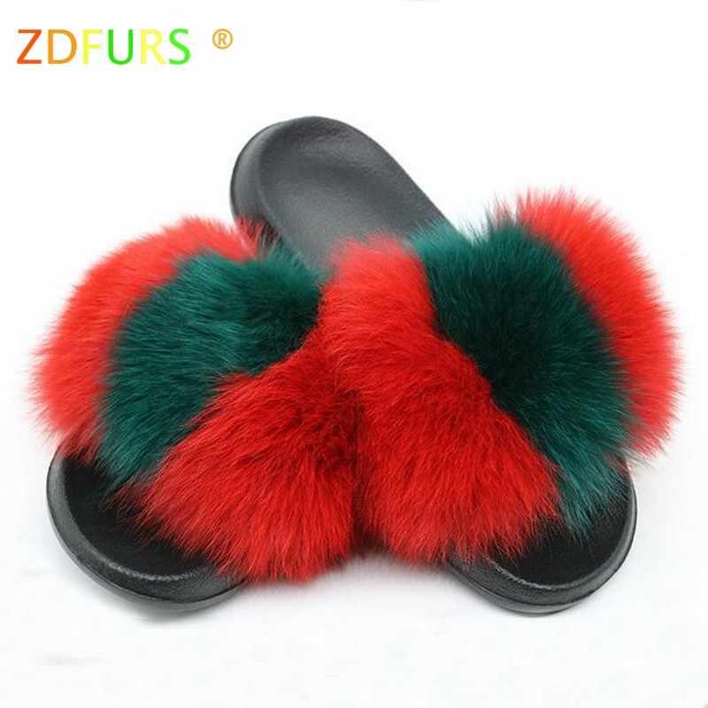 ZDFURS 2019 Hot Sale Women Fox Fur Slippers Multicolor Summer Fashion Slides Outdoor Female Furry Indoor Flip Flops Beach Sandal