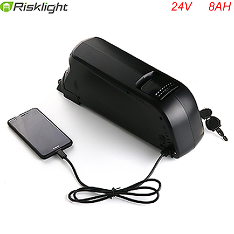 Electric Bicycle Battery 24v 8ah bottle case Lithium ion Battery Pack with charger and bms