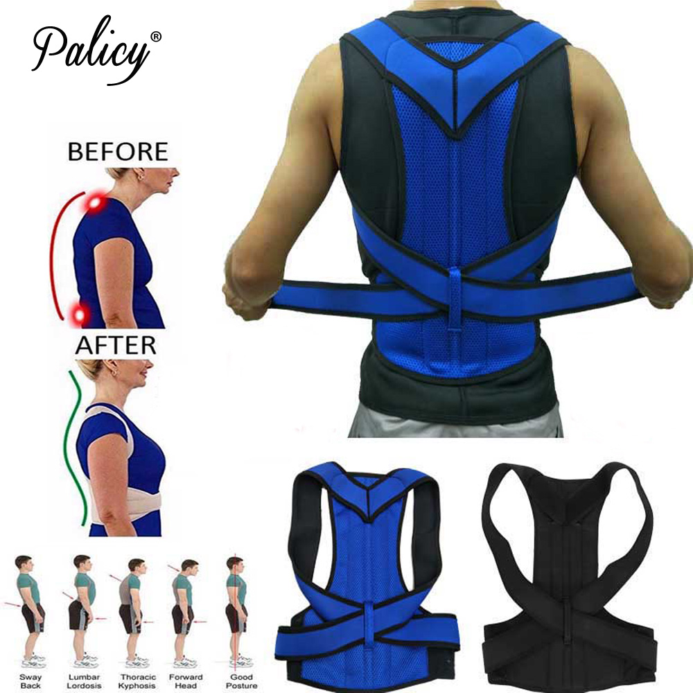 Palicy Adjustable Adult Corset Back Posture Corrector Shoulder Lumbar Brace Spine Support Braces Neoprene Shapers For Men Women