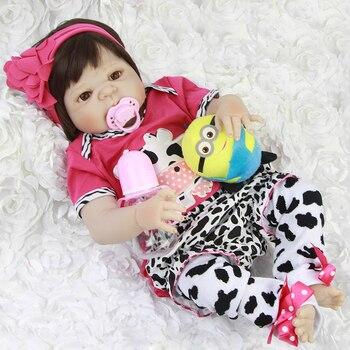"Bebes reborn dolls toys 23""57cm full body silicone vinyl reborn baby new born dolls gift for child  bonecas juguetes"