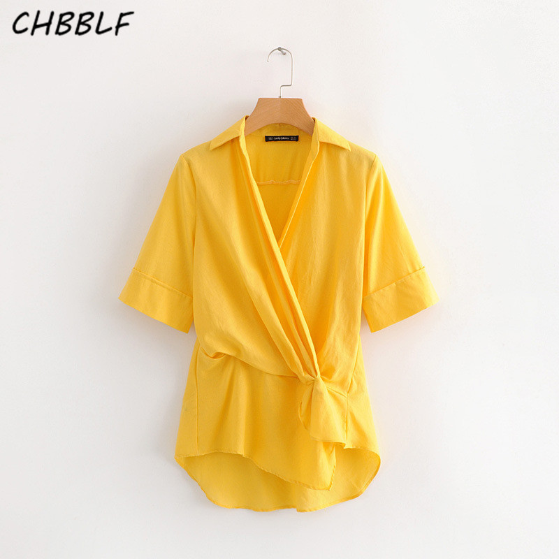CHBBLF women pleated design tops V neck short sleeve irregular blouses female chic streetwear tops S1611