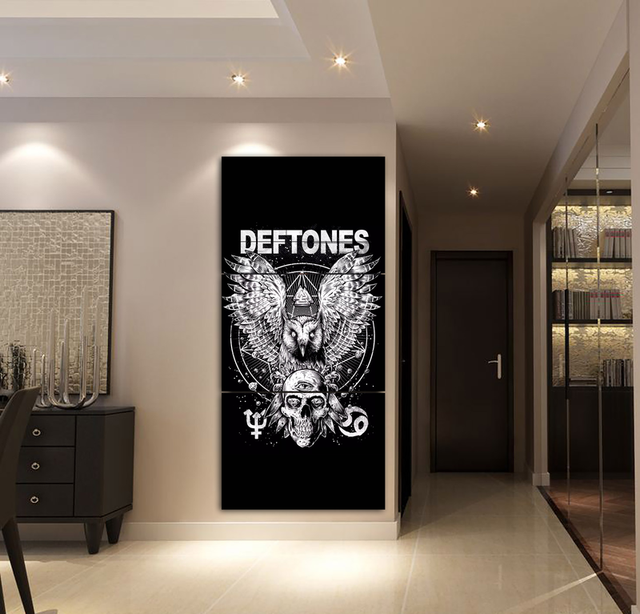 04ee29da3 Canvas Wall Art Picture Home Decor Living Room 3 Pieces Deftones Eagle and  Skull Poster Painting Print Modular Picture Framework