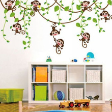 Aftagelig Vinyl Monkey Soveværelse Væg Klistermærker Dekaler Mural Jungle Nursery Monkey Kid Room Decoartion Home Decor