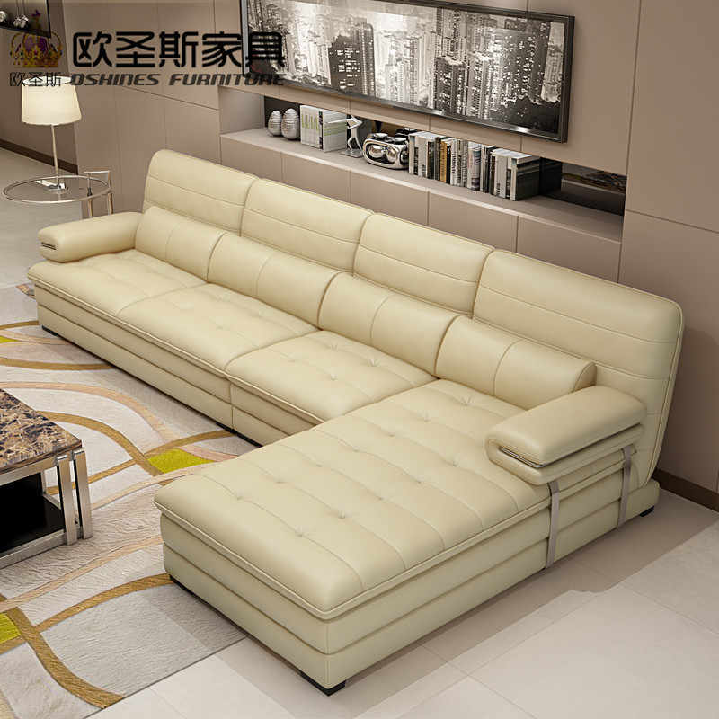 2019 New Arrival Yellow Leather Sectional Sofa Set Metal Frame Leather Sofa  Italian Leather L Shape Livingroom Sofa Set 602