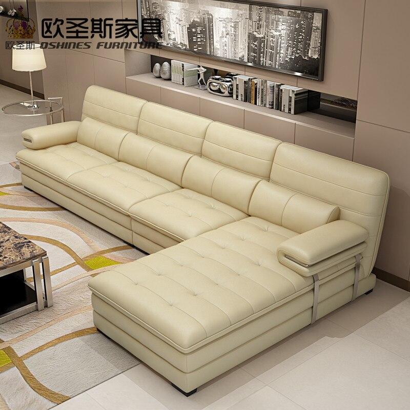 Ensemble de canapé sectionnel en cuir jaune, canapé en cuir à structure métallique, canapé en cuir italien en forme de l 602