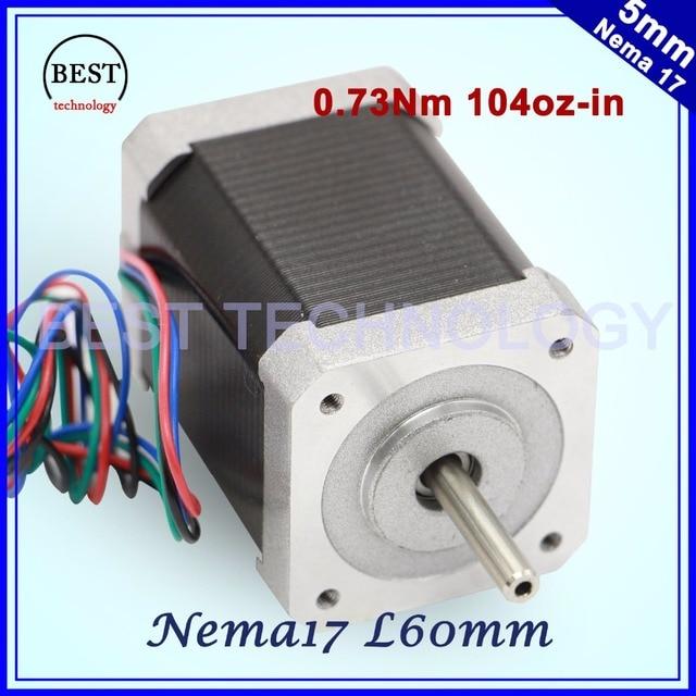 Nema17 stepper motor 60mm length 1.7A 0.73Nm 7.3kg.cm 104Oz-in High torque Nema 17 stepper motor 7.3kg.cm For 3D printer