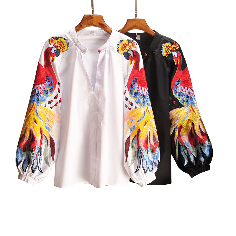 2020 Womens Spring Summer Cotton Causal Shirts Embroidered Long-sleeved Shirts Woman Print O-Neck Lantern Sleeve Tops New Tide