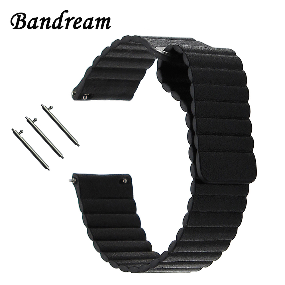 Leather Loop <font><b>Watchband</b></font> <font><b>20mm</b></font> 22mm for Samsung Galaxy Watch 42mm 46mm SM-R810/R800 Active 2 40mm 44mm <font><b>Magnetic</b></font> Band Wrist Strap image