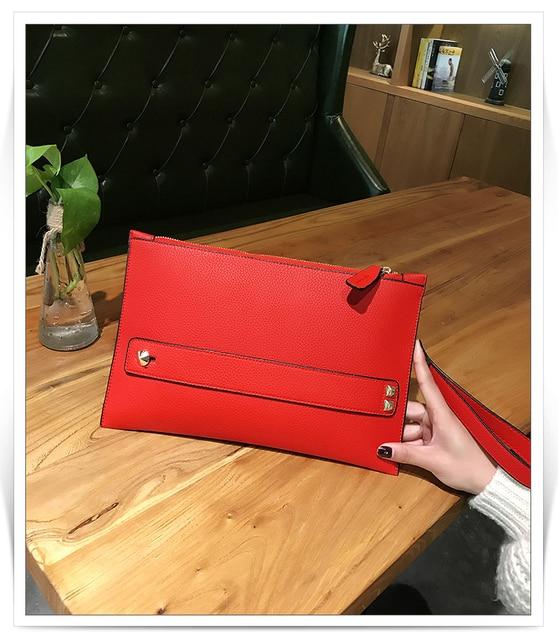 New Fashion Women Envelope Clutch Bag PU Leather Female Day Clutches Red Women Handbag Wrist clutch purse evening bags bolsas 2