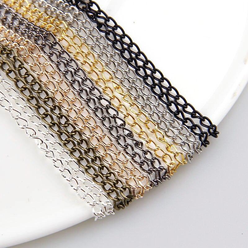 0.6x2x3mm Metal Necklace Chain 7Colors 5m/lot Bulk Fit Bracelets Findings Metal Link Chain For Jewelry Accessories ювелирное украшение для тела cf 100pcs lot 7colors 16g cf002