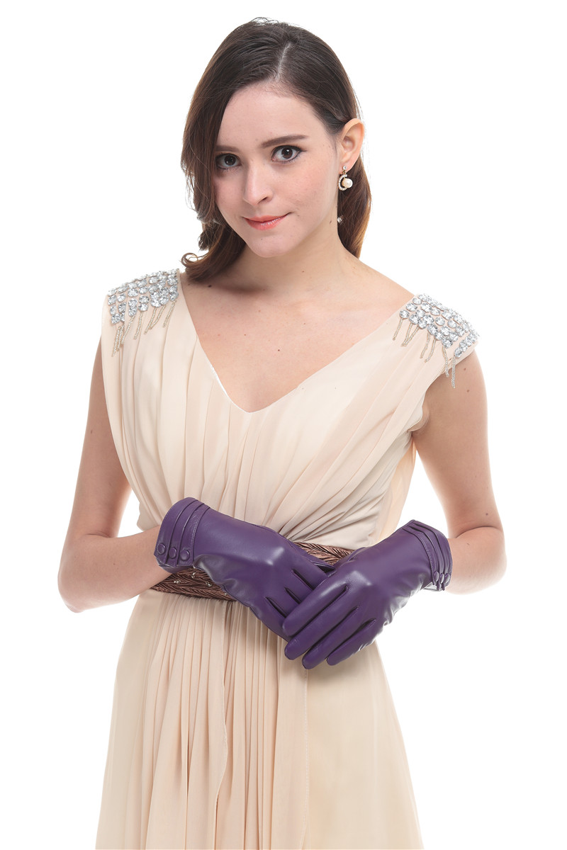 Womens leather gloves purple - Aliexpress Com Buy Women S Dress Leather Gloves Purple Leather Gloves From Reliable Gloves Purple Suppliers On Sisi J Store