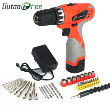 цена на Dutoofree Household Rechargeable Hand Electric Rotary Drill Pistol Lithium Electric Drill Power Tool Kit Electric Screwdriver