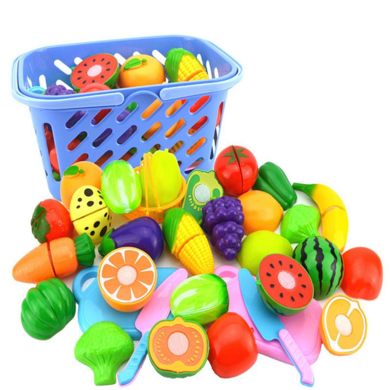 23PCS Hot Sale DIY Pretend Play Baby New Plastic Cutting Fruit And Vegetables Toys Safety Children Kitchen Toy Set