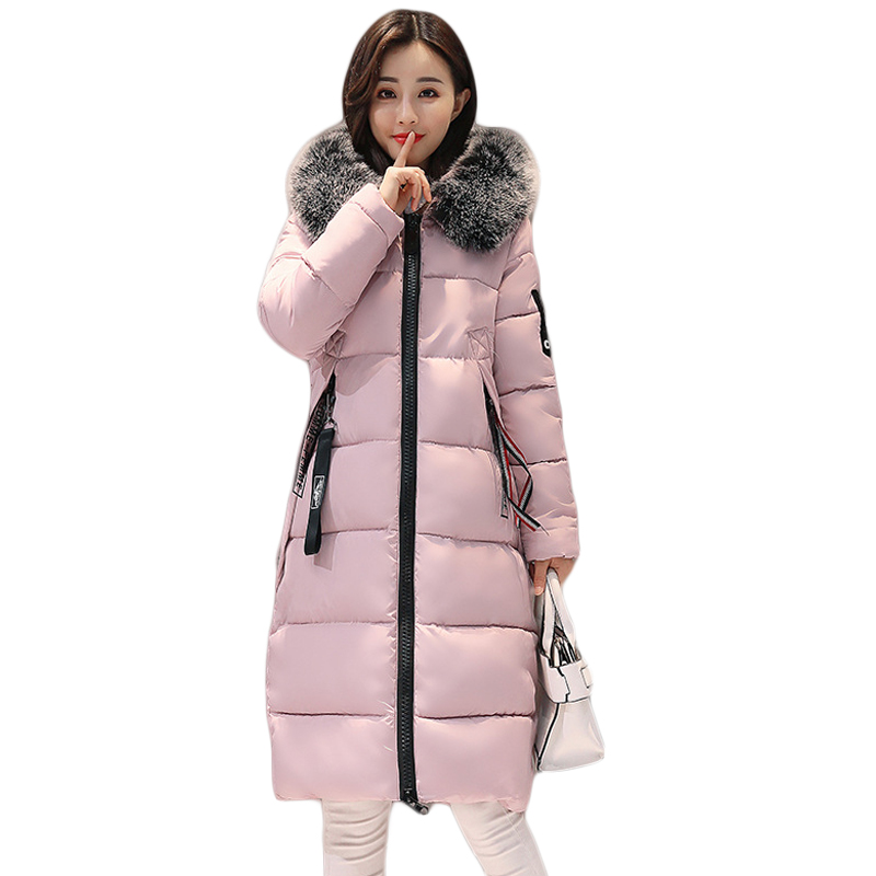 2017 New Winter Jacket Women Long Slim Large Fur Collar Hooded Down Cotton Parkas Thick Female Wadded Coat Plus Size 3XL CM1455 2017 new fashion winter jacket women long slim large fur collar warm hooded down cotton parkas thick female wadded coat cm1678