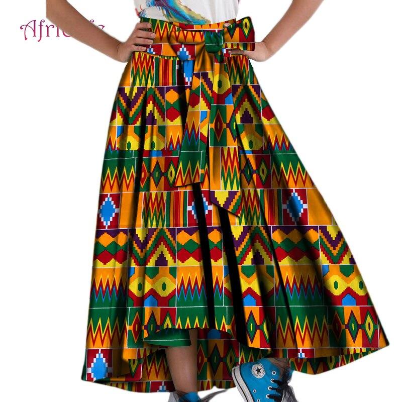 Jupe africaine Cire Coton Batik Ankara Jupes pour Femmes décontracté Vêtements Africains Longueur De Plancher Dame grande taille Jupes Longues WY4396