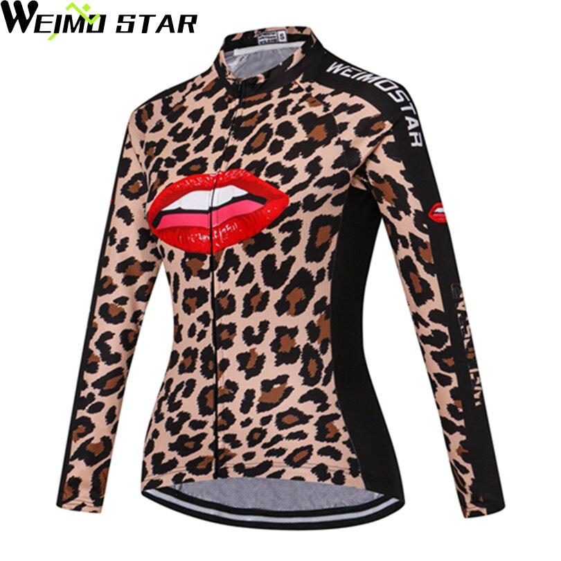 603c307f70ac5 WEIMOSTAR Leopardo Roupas de Ciclismo Bicicleta Camisa de Manga Longa Top  das Mulheres Térmicas de Lã S-3XL