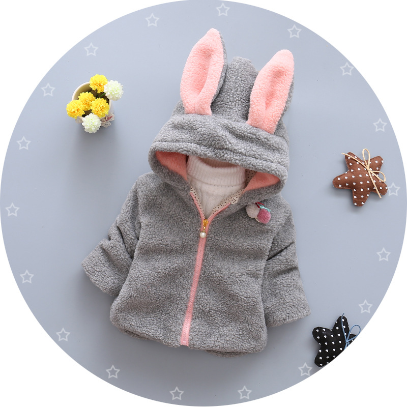 2ee16005ca Children's wear winter new girls with cashmere wool sweaters thickened  rabbit ears Hooded Zip Jacket