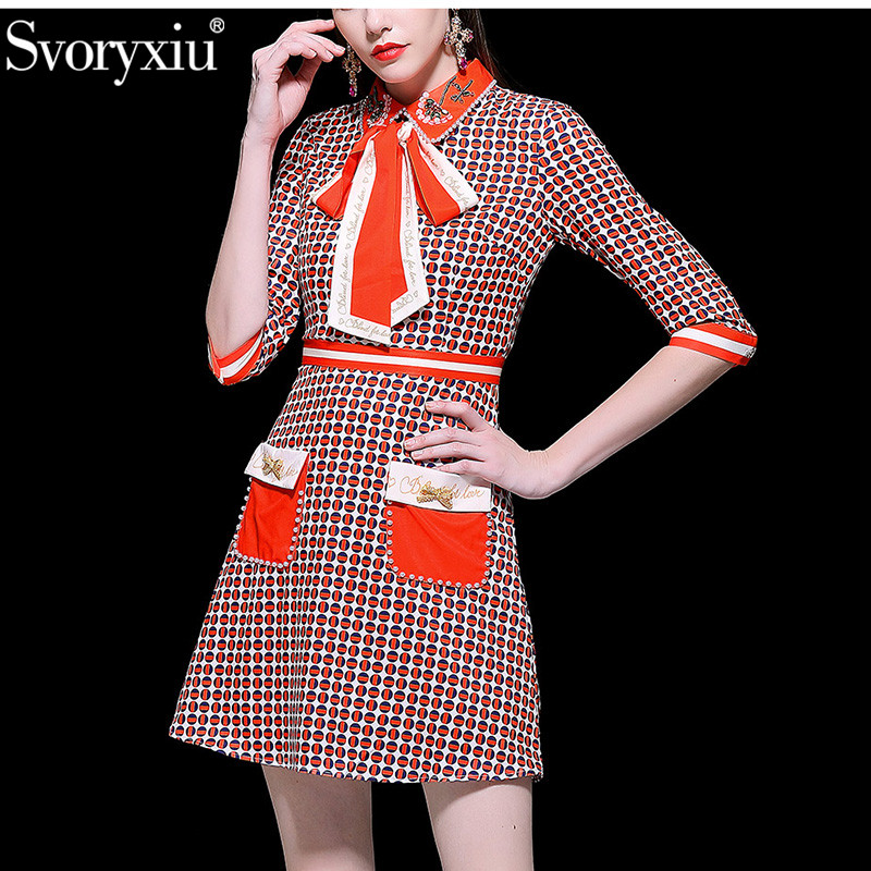 Svoryxiu 2019 Spring Summer Runway luxury Dress Women s Elegant 3 4 Sleeve Beading Diamond Geometric