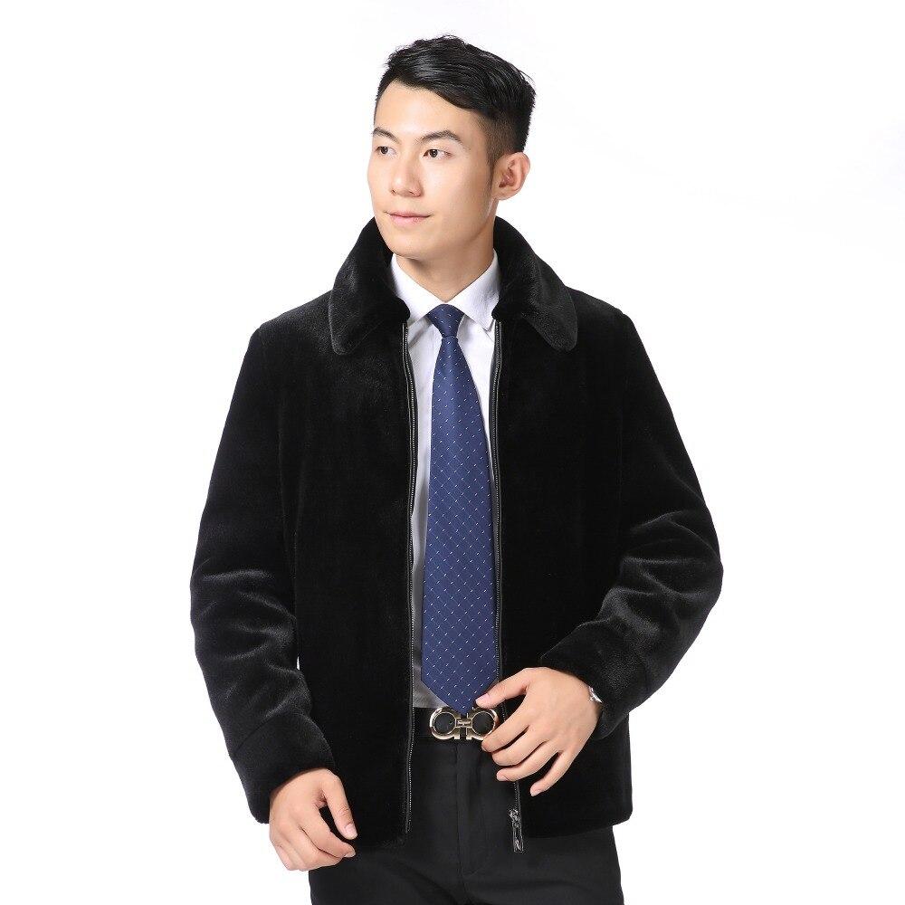 Col Chaud Mink Vestes Survêtement Imité Black Faux Rabattu De Fourrure Homme Vison Fausses Manteaux Noir Coat Hiver Hommes Mans Laine FUzXnn8W