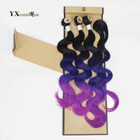 Synthetic Hair Body Wave Bundles With Closure 3 Bundles Brazilian Hair Weave With Lace Closure Blue