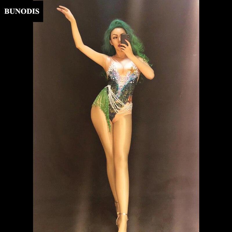 Bu323 Chanteur Série Sexy Body Imprimé Porter Stage Femmes Salopette Coloré Mousseux Cristaux Perle Danseur Nightclub 3d rqUOrax