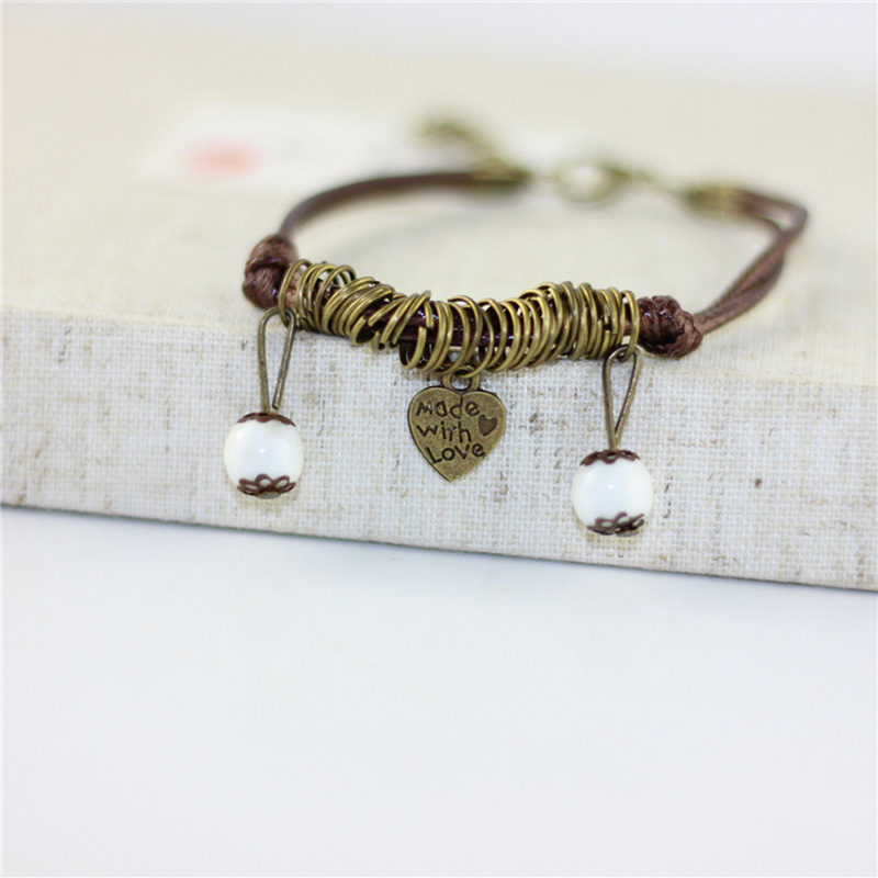 12 Pieces/Lot Love Charm Bracelets Beads Ceramic Bangle Women/Famle Cuff Bangle Weave Rope Link Chains Lover's Hand Jewelry Gift