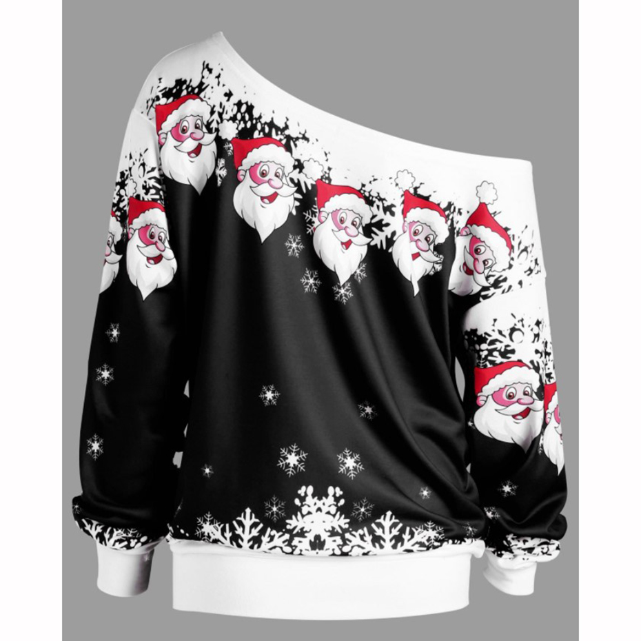 Christmas Sweatshirt Off Shoulder Top Clothing Womens 2019 New Year Dress Print Santa Cute Funny Autumn Winter Women Pullover (8)