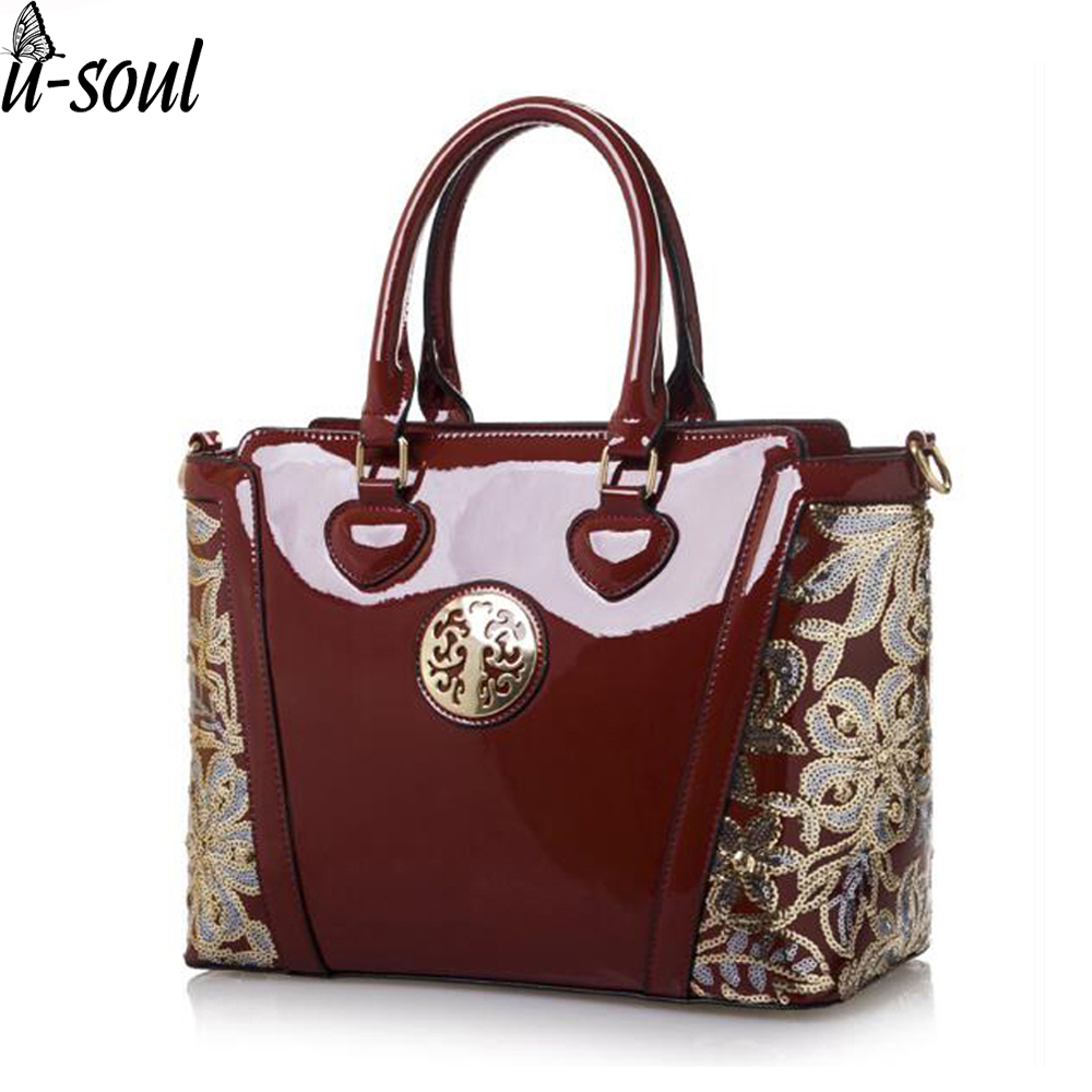 7e5b8e0a13c Women Handbag Embroidery Flower Shoulder Bag Ladies Patent Leather High  Quality Totes Luxury Handbags Women Bags Designer-in Shoulder Bags from  Luggage & ...