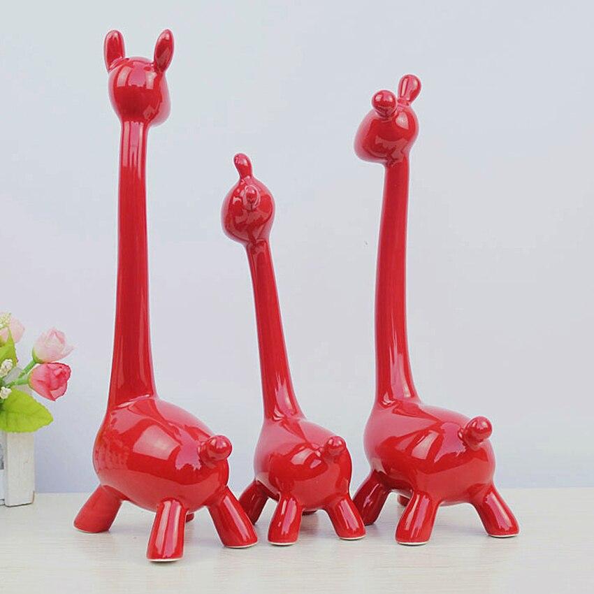 Sculpture Cadeau 3 Figurines Salon Animal Pc Créatif Girafe Cerf Une De Artisanat En Mariage Famille Décoration Trois Céramique Décorer CQthrxsdB