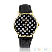 Hot Sales Popular Colorful  Dress Girl's Women's Sweet Small Polka Dot Watch Geneva Leather Quartz Wrist Watch NO181 5V52 AJWP