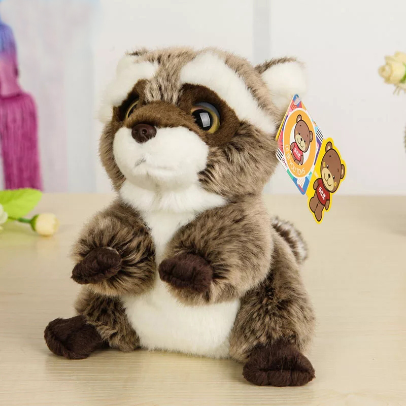 Free Shipping 18CM Lovely Small Racoon Plush Toys Dolls Stuffed Animal Toys For Children Kids Toys Christmas & Birthday Gifts lps pet shop toys rare black little cat blue eyes animal models patrulla canina action figures kids toys gift cat free shipping