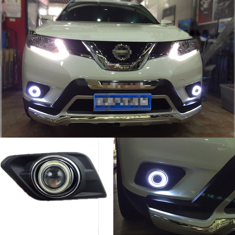 Ownsun Superb 55W Halogen Bulbs COB Fog Lights  Source Angel Eye Bumper Cover For Nissan X-Trail 2014 ownsun innovative super cob fog light angel eye bumper cover for skoda fabia scout