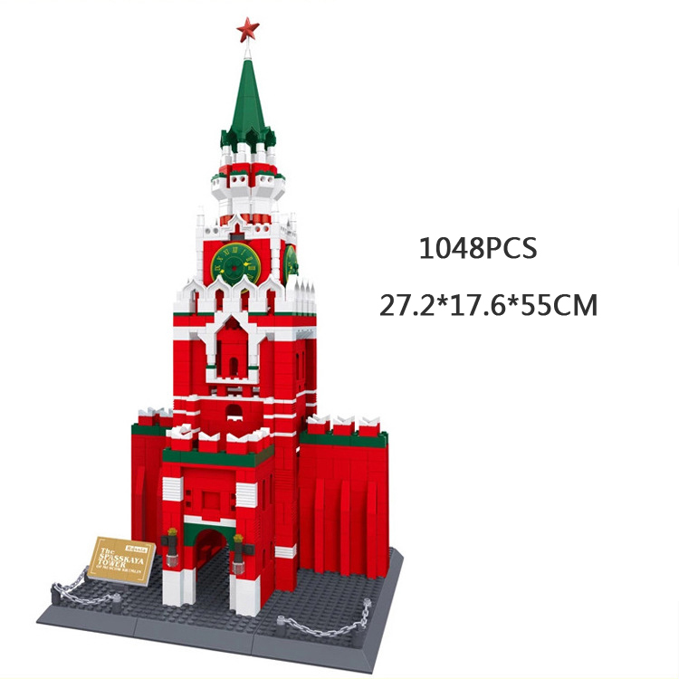 World famous History Cultural architecture building block Moscow Kremlin russia model brick educational toys collection for gift loz lincoln memorial mini block world famous architecture series building blocks classic toys model gift museum model mr froger