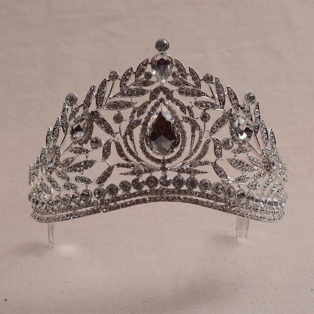 Европейский Великолепный Горный Хрусталь красоты Диадема pageant Диадемы Великолепные Хрустальные ободки Корона для Невесты Свадебные аксессуары для Волос