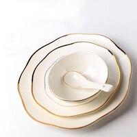Creativos de Corea en acristalada Incrustaciones de Oro Blanco De Cerámica Plato de Pescado Plato de Sopa de Fideos Tazón Cuchara Filete Huevo Pastel de Cumpleaños Regalo de boda