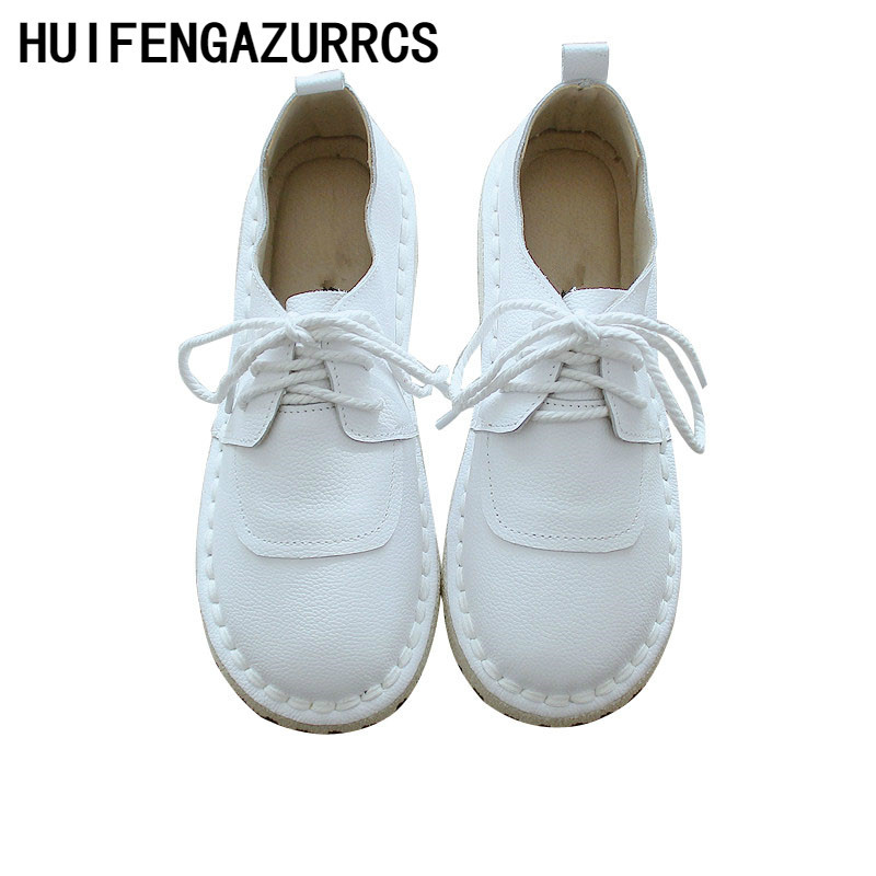 HUIFENGAZURRCS 2019 Super comfortable leather shoes Japanese art RETRO super soft bottom leisure shoes in pregnant