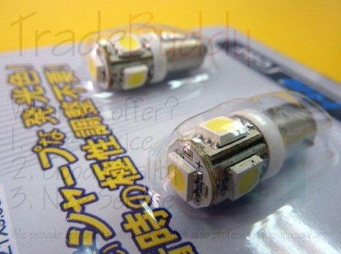 Free Shipping  Car BA9S T11 5 * 5050 SMD LED Light Lamp Wedge Bulb W5W