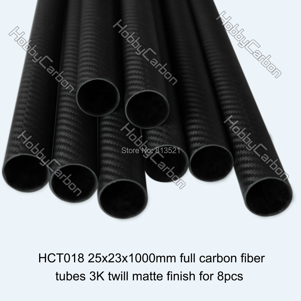 HCT018 Free shipping by DHL wholesale price 8pcs 25x23X1000mm 100 carbon fiber 3k twill matte tubes