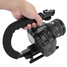 PULUZ for steadycam U-Grip Shoe Mount C-shaped Single Handgrip Camera Stabilizer for Steadicam SONY Canon Nikon DSLR Stabilizer puluz for steadycam u grip c shaped handgrip camera stabilizer w h tripod head phone clamp adapter for steadicam dslr stabilizer