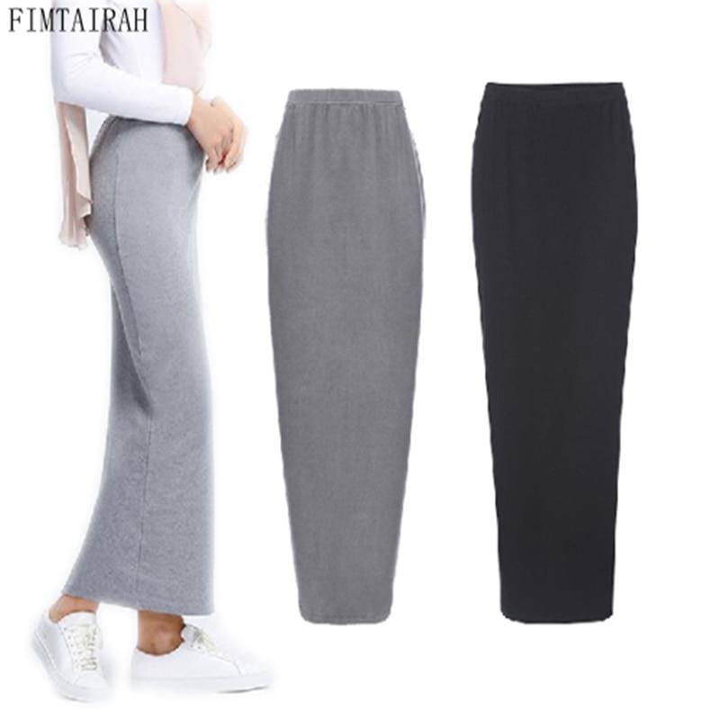Pencil-Skirt Half-Dress Stretch Islamic Slim Arab Long Bodycon Cotton Maxi High-Waist