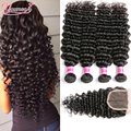 Brazilian Deep Wave With Closure 4 Bundles With Closure Brazilian Curly Virgin Hair With Closure Cheap Lace Closure With Bundles