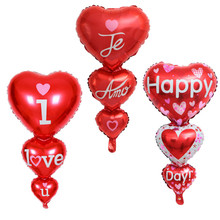 1pc Connected Red Love Heart Foil Balloon I Love You Happy Day Helium Balloon Wedding Decoration Valentine's Day Party Decors цены онлайн