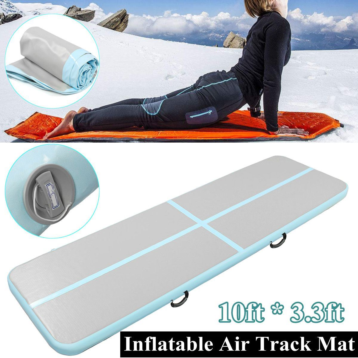 все цены на Yoga Mats 90cm*3m*10cm Inflatable Tumble Track Trampoline Air Track Floor Home GYM Gymnastics Inflatable Air Tumbling Mat онлайн