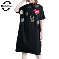 Oladivi Oversized Plus Size Women Clothes Fashion Love Embroidered Sequins Dress Lady Short Sleeve Casual Dresses